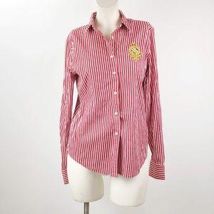 Ralph Lauren Red Vertical Striped Emblem Shirt